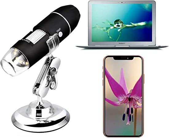 HYCQ Industrial Microscope 2MP 1080P HD 1000x USB W-LAN Electronic Digital Microscope Pocket Mini Zoom 8 LED Legs for Kids Students for iPhone iOS Android Phone ipad Windows