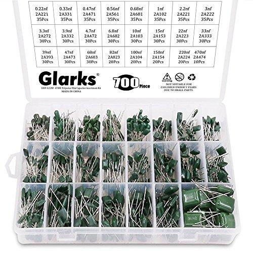 Glarks 24 Value 700PCS 0.22NF- 470NF Polyester Film Capacitor Assortment Kit