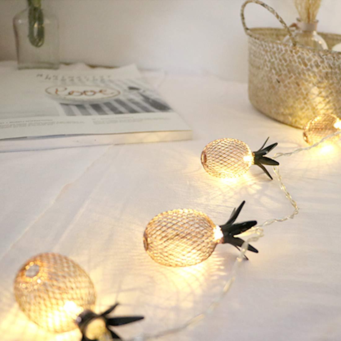 AVA Pineapple String Decor Lights 10ft 10 Led 20 Led Lantern Fairy String Lights Battery Powered for Home Christmas Wedding Patio Party Festival Decoration Warm White