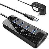USB3.0ハブ電源付き atolla USB3.0Hub 4ポート増設 + 1充電ポートUSB拡張【独立スイッチ付・5V/3A ACアダプタ付き】