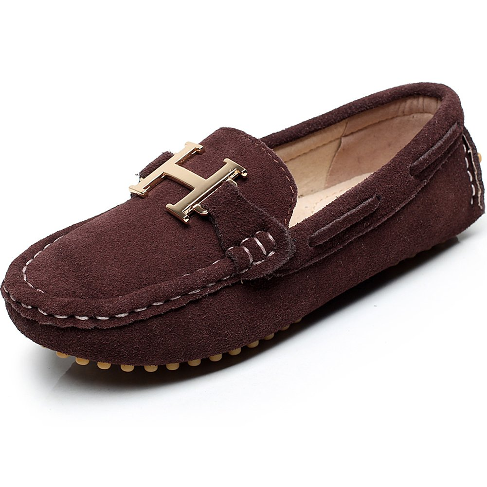 Shenn Boys' School Casual Faux Suede Moccasin/Boating Shoes (us2.5, Coffee)