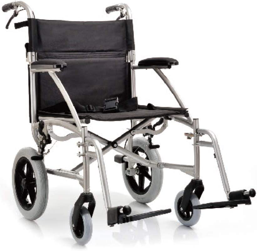 YUWELL - Silla de ruedas plegable de aluminio ultraligera con freno de mano, 8,7 kg, asiento de 19 pulgadas