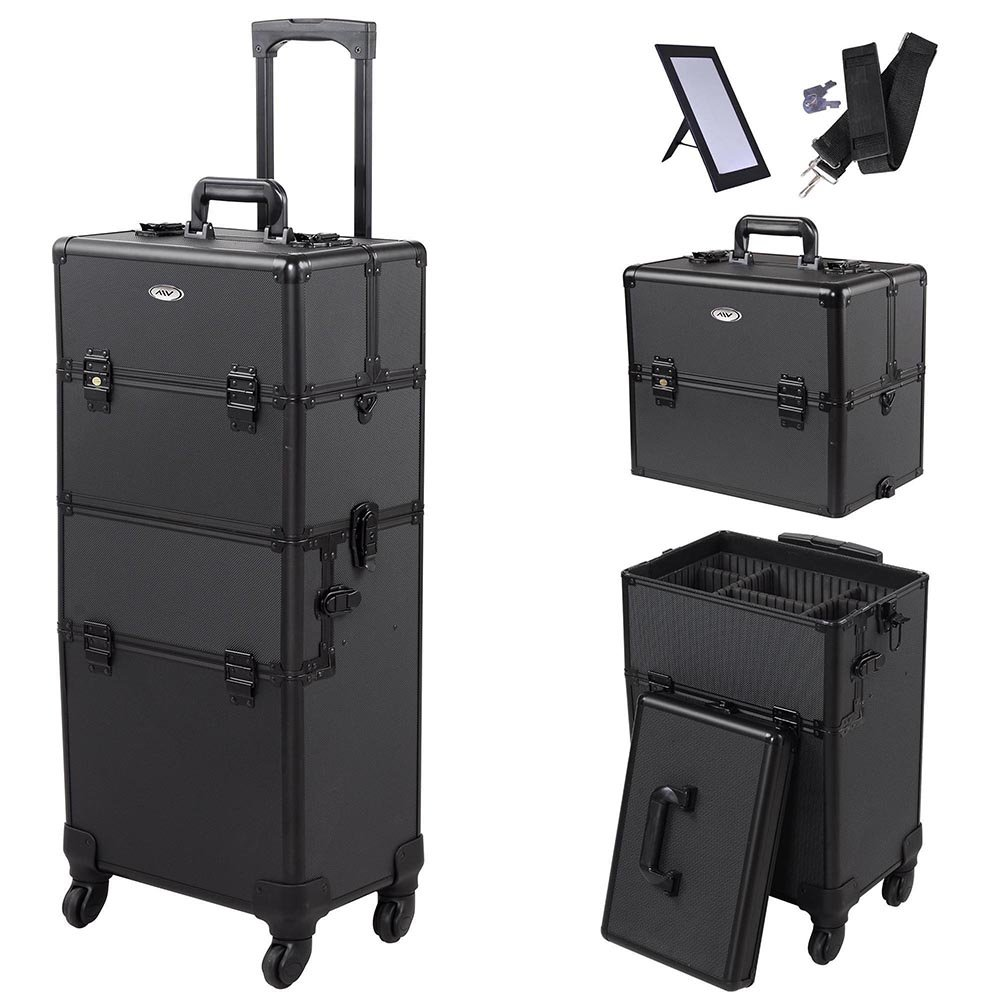 "AW 2in1 4 Wheel Pro Aluminum Rolling Makeup Cosmetic Train Case 38"" Lockable Wheeled Box"