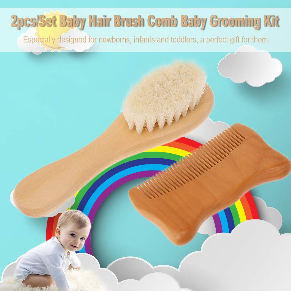 Moobeasch 2pcs//Set Baby Hair Brush Comb Natural Wool Wooden Hairbrush Newborn Infant Comb Head Massager Baby Grooming Kit