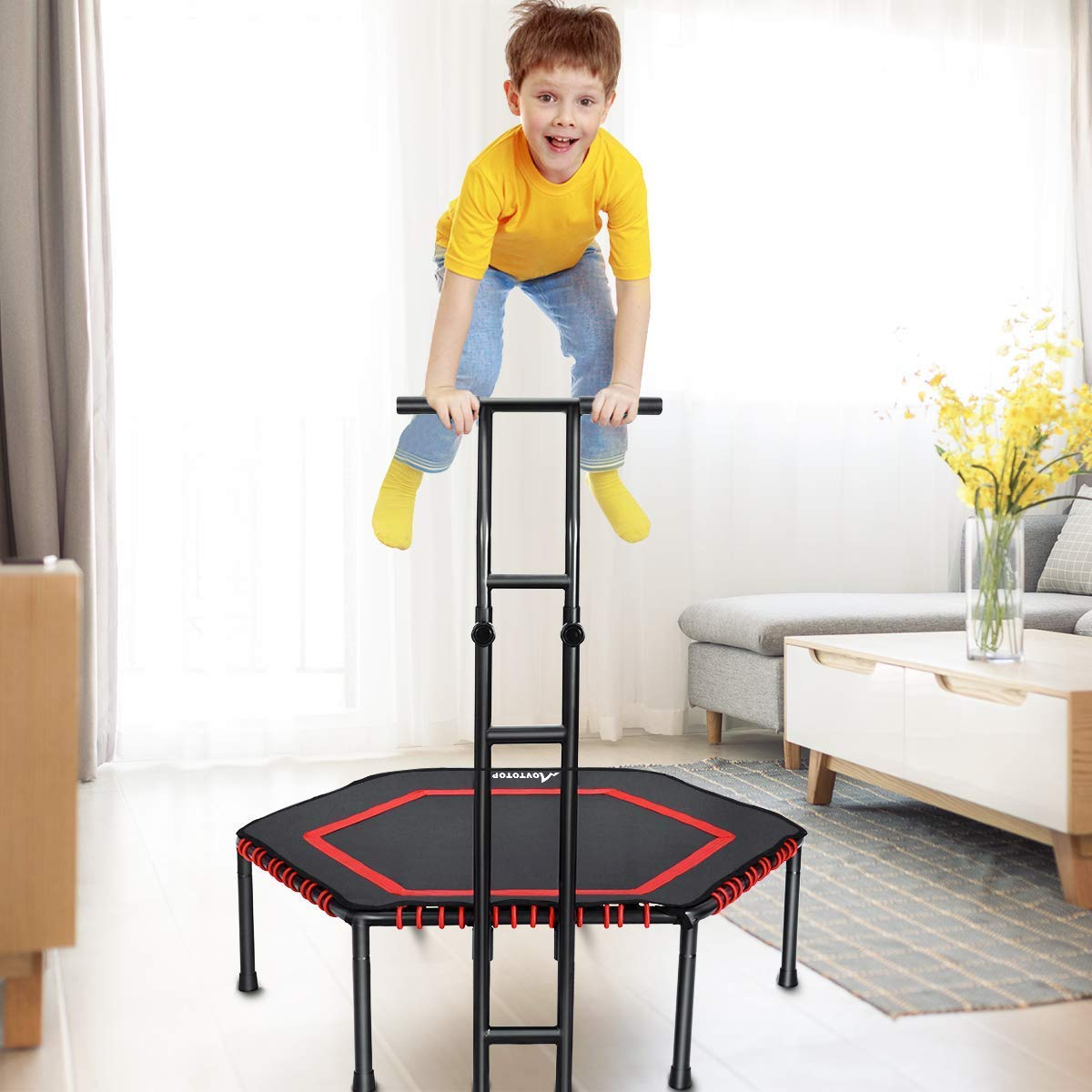 MOVTOTOP Indoor Trampoline with Adjustable Handrail Bar, 48 Inch rebounder for Kids Adults, Folding Jump Workout Trainer with Overed Bungee Rope System for Cardio Exercise - Max Limit 264 lbs (Red)