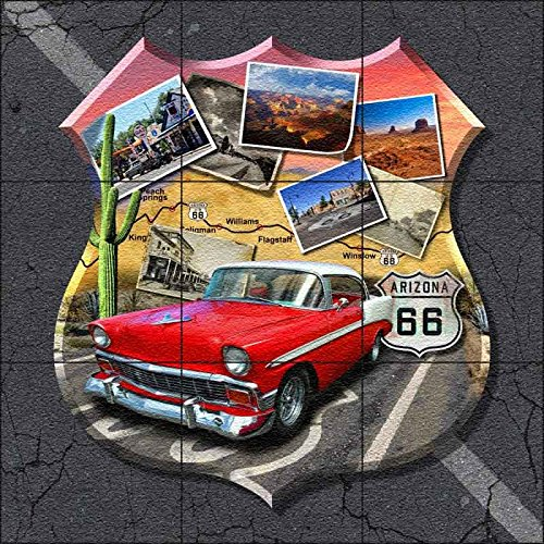 Mosaic Medallion Flooring Mural Decor - Arizona Route 66 - Shield by Jim Todd - Floor Countertop Tabletop Tile Mural (24