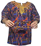 Unisex Kente Shirt Tribal Hippie African Clothing Dashiki Top with Hat One Size