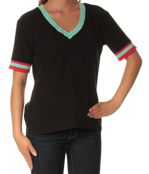 5cc50c7b5233 Amazon.com: Cynthia Rowley Womens Color Block Mixed Media Casual Top Black  XS: Clothing
