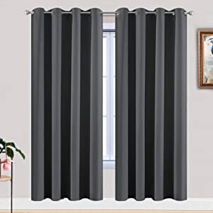 Yakamok Room Darkening Grommet Window Drapes Thermal Insulated Light Blocking Blackout Curtains for Bedroom(52Wx72L,Dark Grey,2 Panels)