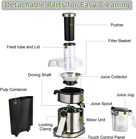 Extractor Wide Mouth Masticating Juicer Machine LED Touch Control Function with Juice Jug,Anti-drip,800W-High Nutrient Fruit /& Vegetable 15.7 x 10.6 x 7.9