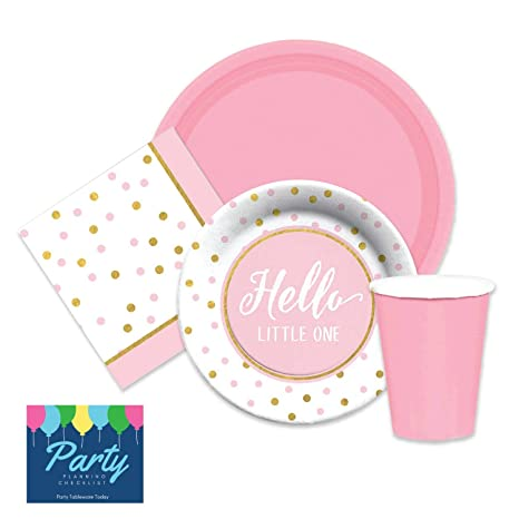 Elegant Girls Pink u0026 Gold Baby Shower Party Supplies for 16 Dinner Plates dessert plates  sc 1 st  Amazon.com & Amazon.com: Elegant Girls Pink u0026 Gold Baby Shower Party Supplies for ...