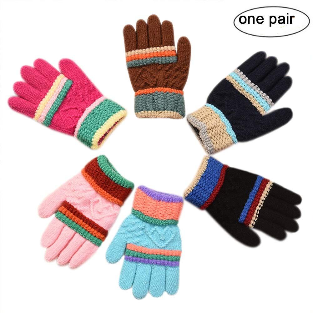 (2-6Y) Kids Boys Girls Warm Soft Winter Knit Gloves Fashion Stripe Mittens BabyPrice
