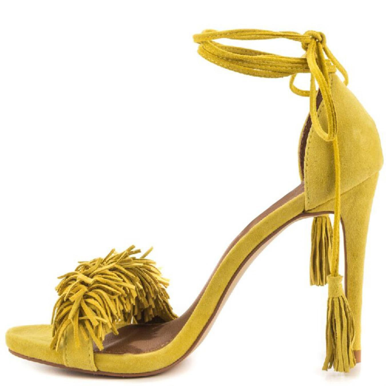 8dffdf27ba3a Women gladiator sandals summer extreme high heels faux fringe yellow  stilettos shoes clothing jpg 1350x1350 Yellow