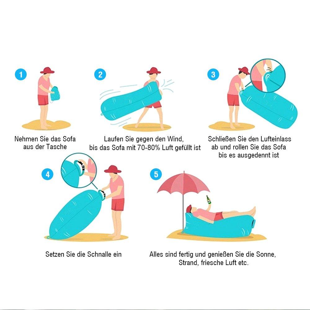 LATIT Gonflable canapé avec oreiller intégré et sac de rangement, canap gonflable, léger Portable imperméable Air Sofa gonflable Lounger, Air lit plage chaise longue pour Travelling, piscine, Camping, parc, plage, jardin,plein air ou à l\'i
