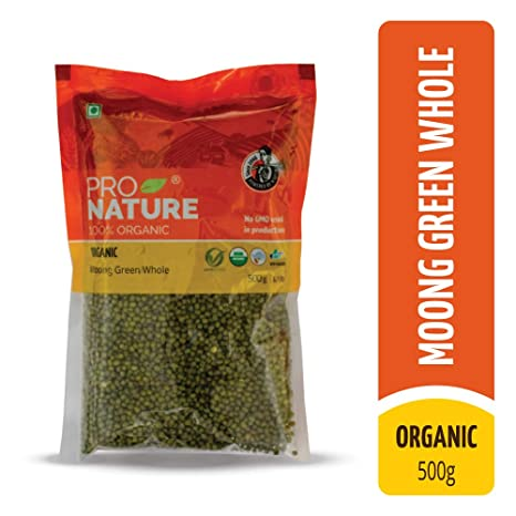 Pro Nature 100% Organic Moong Green Whole, 500g
