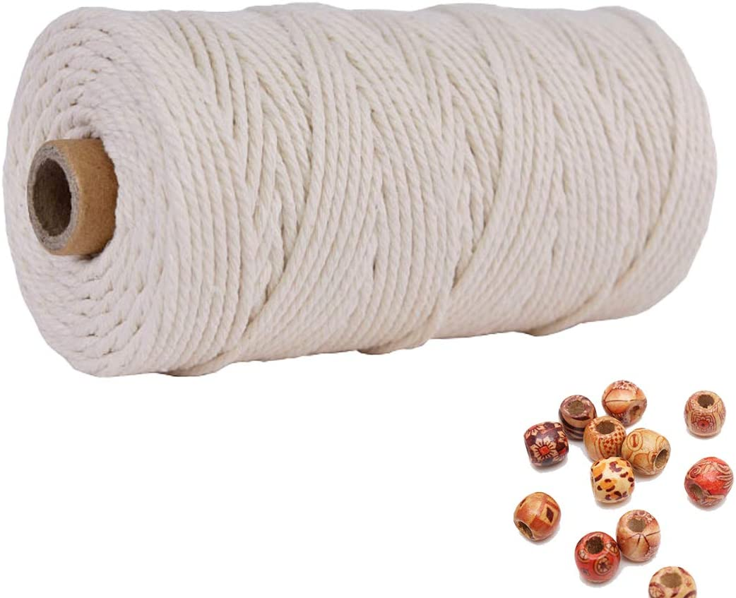 Macrame Cord Cotton Rope 3mm 218 Yards 1Pack,Natural Cotton Cord 4 Strand Twisted Macrame Twine for Macrame Decor,Cotton Rope for Handmade Wall Hanging Weaving Basketry Crochet and Tapestry