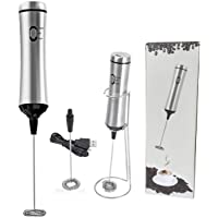 Henghan Electronic Rechargeable Milk Frother with 2 Stainless Steel Frothing Head