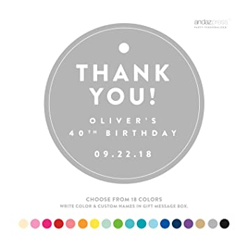 Andaz Press Personalized Circle Birthday Gift Tags Thank You 24 Pack Custom