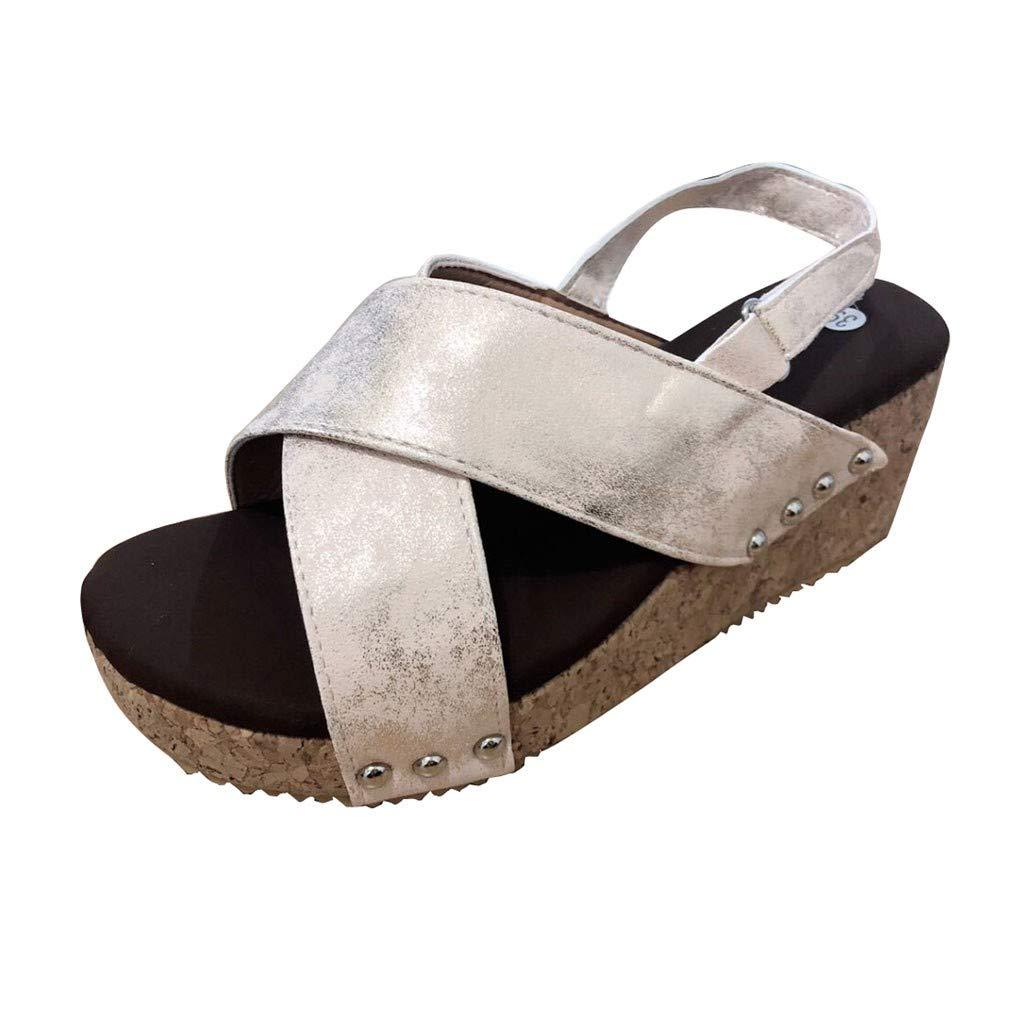 Women Platform Wedges Sandals,Sunyastor Cutout Belt Wedges Sandals Faux Leather Cork Ankle Strap Beach Dress Wedding Shoes Beige