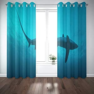 EMMTEEY 52X84 Curtains 2 Panels Common Sharks are and Live in The Deep Ocean However Unique Chance to See These Incredible Close Range Window Curtain Panels for Living Room Bedroom Décor