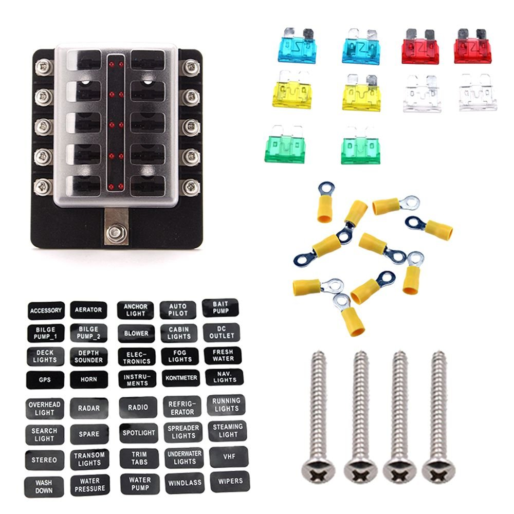 Amazon.com: 10 Way Blade Fuse Block For Car Truck Boat RV LED Indicator Fuses  Box With Terminals Wiring Kits: Automotive