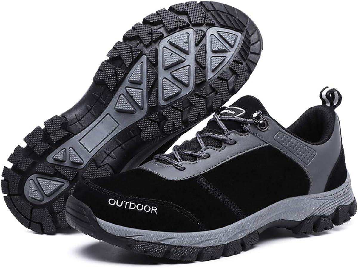 gracosy Hombres Zapatos de Senderismo Al Aire Libre Zapatos Bajos Antideslizante Botas de Nieve Zapatillas de Deporte Montañismo Running Entrenamiento Ultraligero Sneakers 2019,Gris Negro