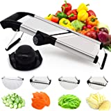 CHEFLY Large Stainless Steel Vegetable Mandolin Slicer Mandoline Julienne French Fry Cutter All in One Adjustable Thickness 0-9mm for Slices of Onion Potato Cucumber Bacon S1806