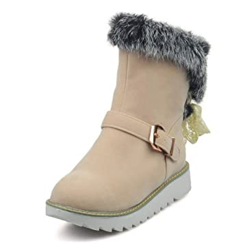 Women Half Short Snow Boots Thick Fur Flats Botos In Cold Shoes Thick Fur Botas Women Footwear