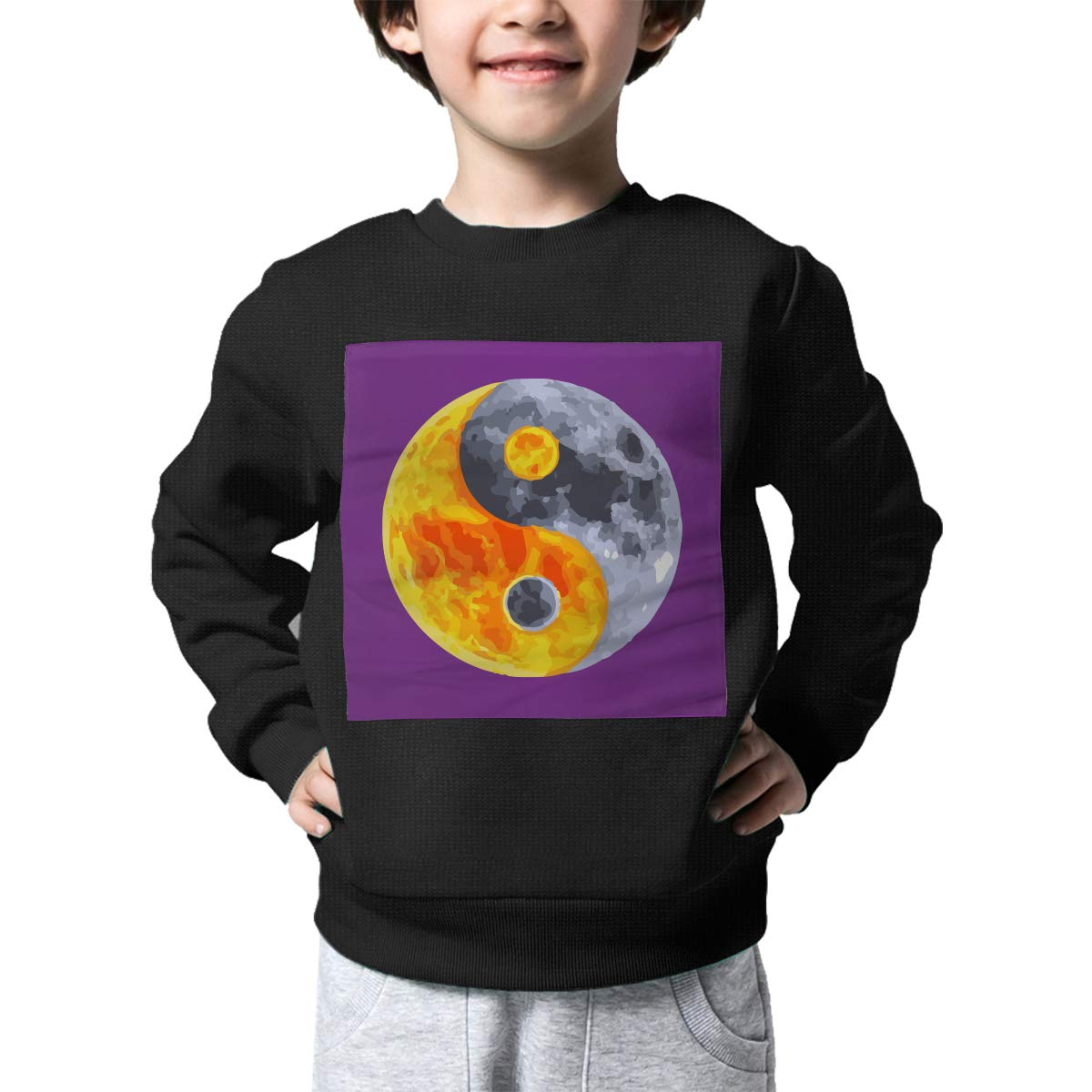 Childrens Yin and Yang Fish Planet Sweater Boys Girls Printed Sweater
