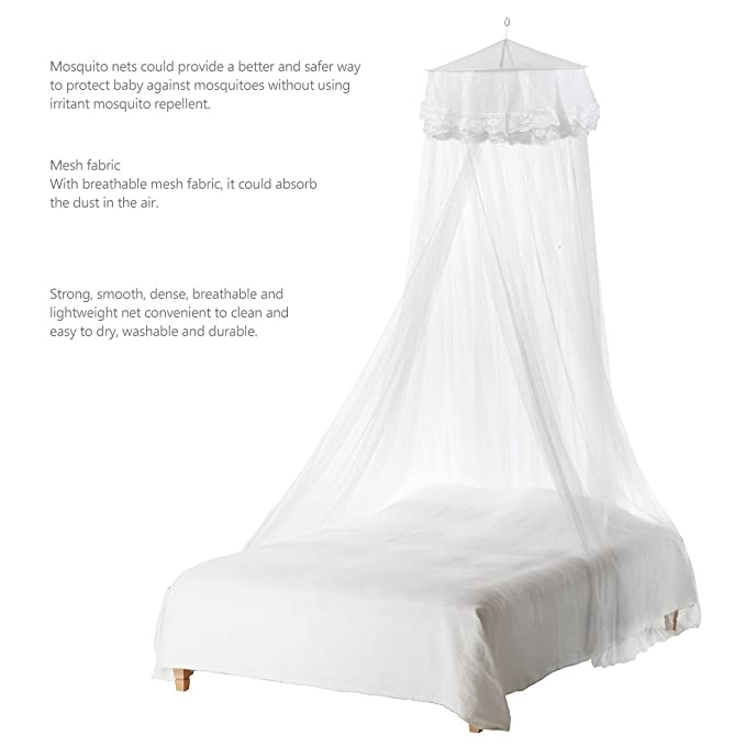 Color : White Round Dome Bed Net Canopy Netting Royal Style Princess Mosquito Net