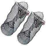 "5. Drasry Crab Trap Bait Lobster Crawfish Shrimp Portable Folded Cast Net Collapsible Fishing Traps Nets Fishing Accessories Black 23.6"" x 11.8"" (60cm x 30cm) (2 PCS)"