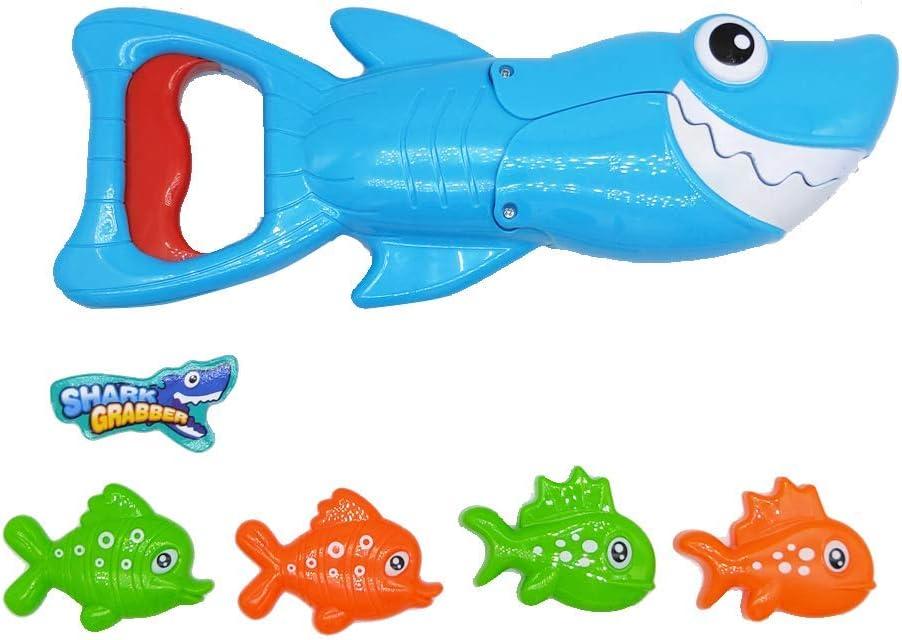 BALOBOO Shark Bath Toy Set Baby Bathub Toys Shark Grabber with Teeth Biting Action Include 4 Toy Fish Preschool Bath Toys for Kids Boys Girls Toddlers Age 3+