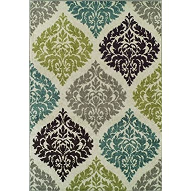 Super Area Rugs, Modern Transitional Damask Lanterns Rug, Ivory, 3ft. 3in. X 5ft. 1in. Mat