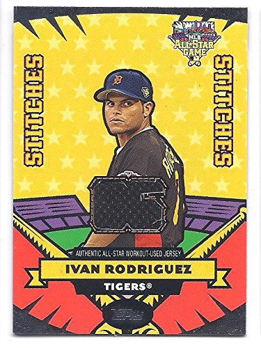 IVAN RODRIGUEZ 2006 Topps Update All-Star Stitches #IR Workout-Used JERSEY Card Detroit Tigers Baseball