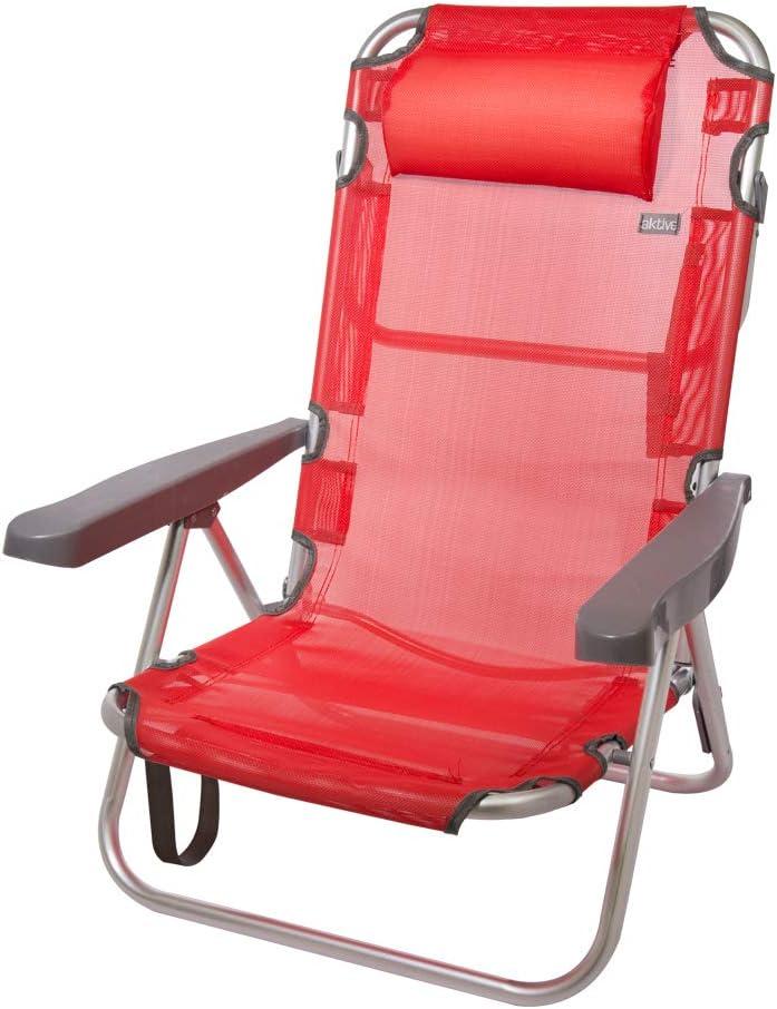 Aktive 53971 Silla plegable multiposición aluminio Beach, 108 x 60 x 82 cm Rojo