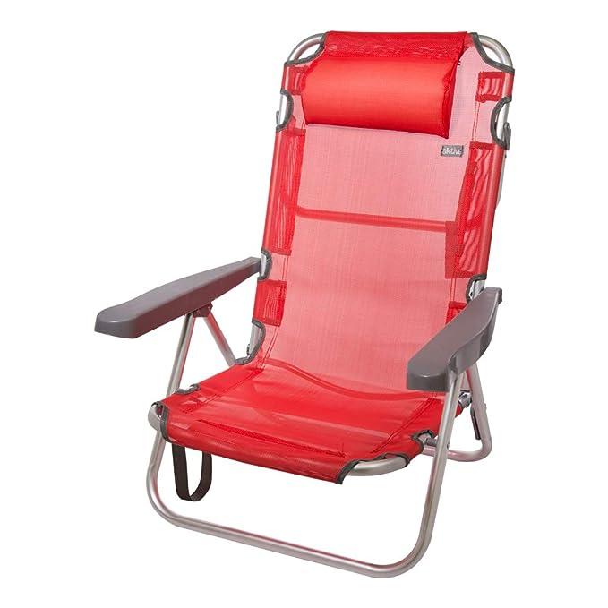 AKTIVE 53971 Silla Plegable multiposición Aluminio Beach, 108 x 60 x 82 cm, Rojo
