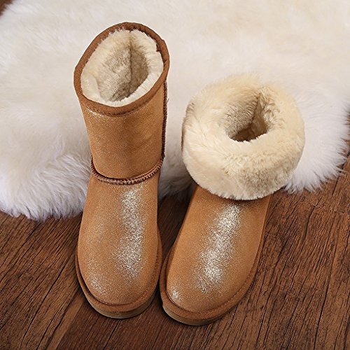 Women 's snow boots winter leather medium tube boots thickening warm cotton shoes ( Color : Brown , Size : US:6.5\UK:5.5\EUR:38 )
