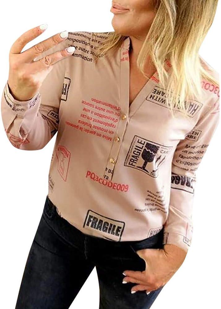 Proumy Camiseta Blanca Mujer con Impresión de Frases Blusa con Botón Camisa con Manga Larga Tops con Lema Vestido con Escote Elegante (Caqui, S): Amazon.es: Ropa y accesorios