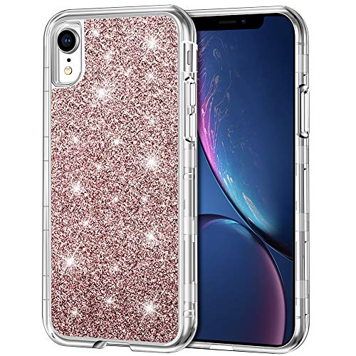 iPhone XR Case, Anuck 3 in 1 Heavy Duty Protective Case for Girls Sparkly Bling Glitter Back Hard Plastic Clear Bumper & Soft TPU Hybrid Shockproof Cover Full-Body Case for iPhone XR 6.1