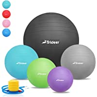 Trideer Exercise Ball (45-85cm) EXTRA THICK Yoga Ball Chair, Anti-Burst Heavy Duty Stability Ball Supports 2200lbs, Birthing Ball Quick Pump (Office & Home & Gym)