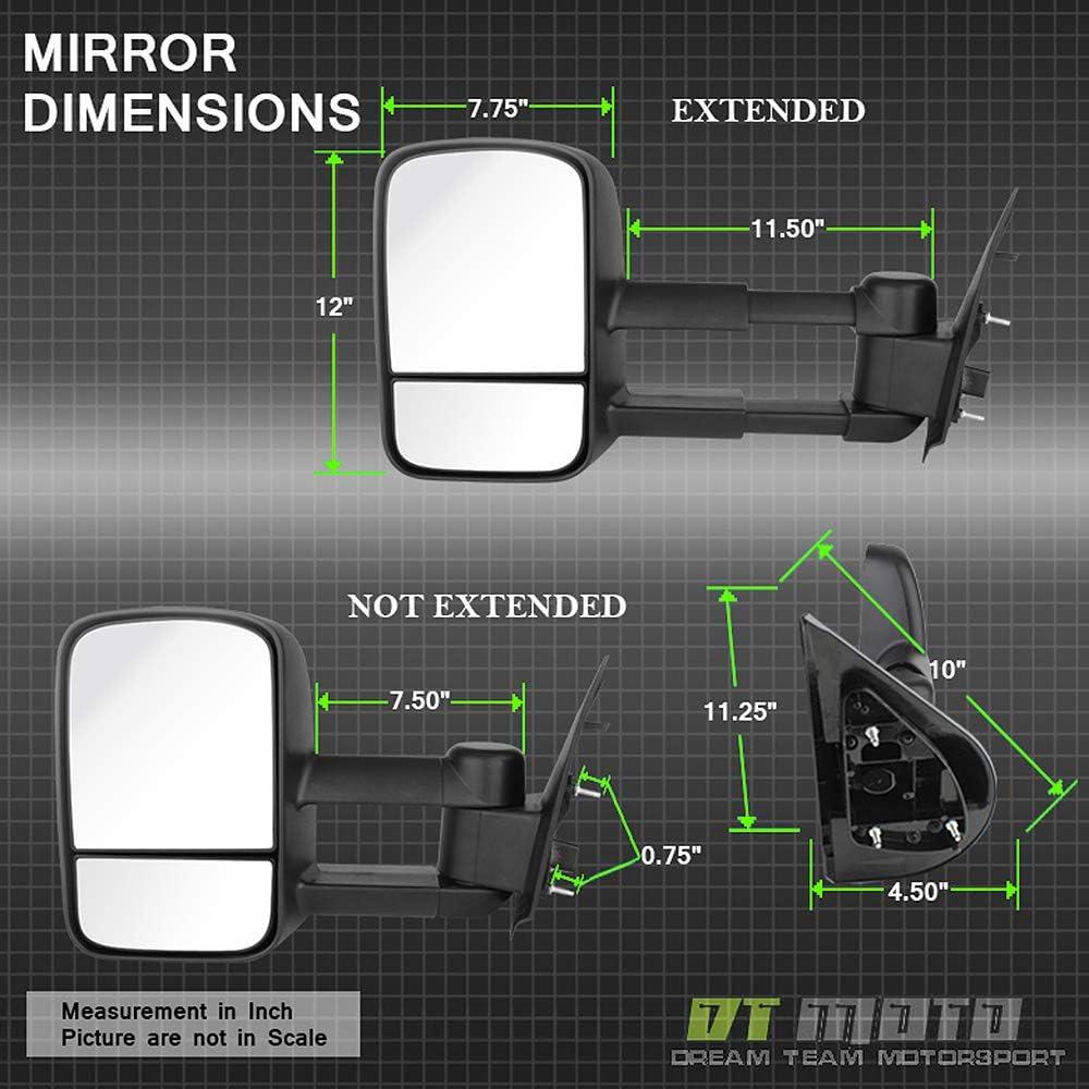 Passenger 07-14 Suburban Silverado Avalanche Tahoe Acanii Manual Non Heat Towing Telescoping Side Mirrors For Driver