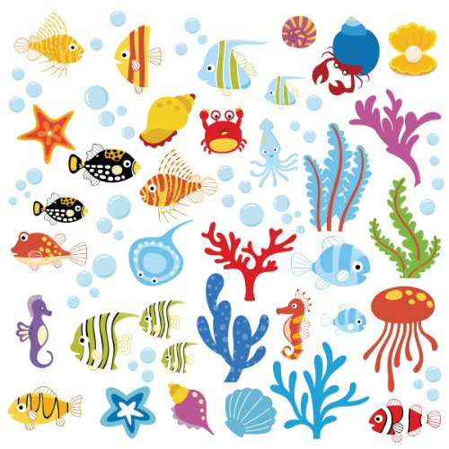 Ocean Wonders Decorative Peel & Stick Wall Art Sticker Decals