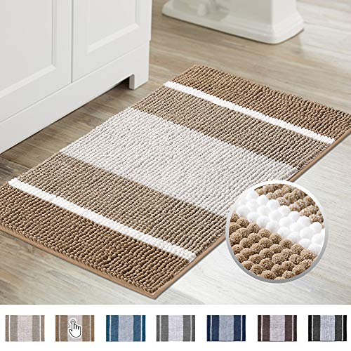 Super Cozy Plush Chenille Shaggy Bath Mat, Gradient Beige Stripe Pattern Soft Microfiber Bath Rug, Ultra Absorbent Non Slip Bathmat Machine Washable Rug for Tub Shower, (20×32 inch, Beige)
