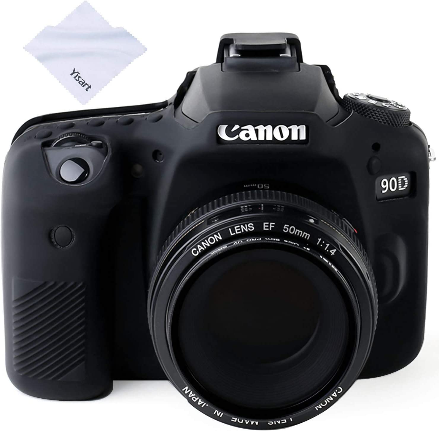 Yisau 90D Camera Case Professional Silicone Camera Case for Canon EOS 90D Camera Canon Rebel EOS 90D Camera Beautiful Companion (Black)