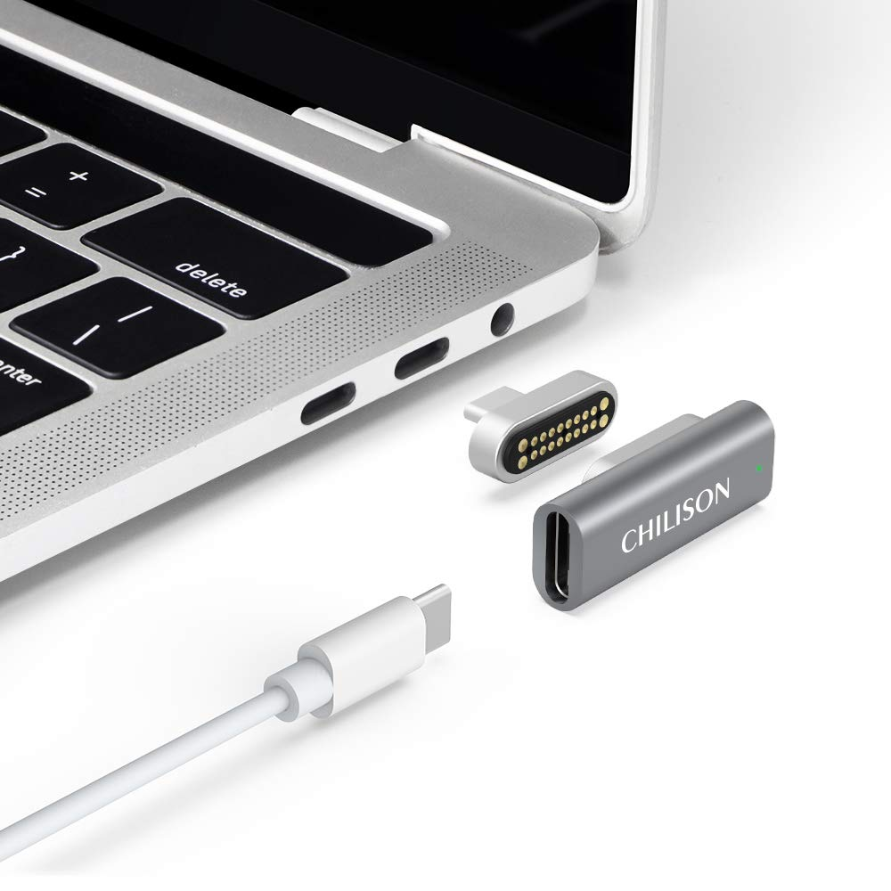 Magnetic USB C Adapter, 20Pins Type C Connector, Support USB PD 100W Quick Charge, 10Gbp/s Data Transfer and 4K@60 Hz Video Output Compatible with MacBook Pro/Air, 2019 iPad Pro and More Type C Device by CHILISON