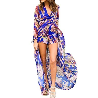 ee26ddbdcc Bodycon4U Women s Summer Floral Print Plunging V Neck Long Tail Romper Maxi  Dress at Amazon Women s Clothing store