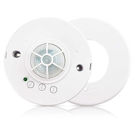 interruptor de iluminaci/ón 1200W m/áx rango IP44,12M Sensor de movimiento infrarrojo QWYEURO montado en la pared Blanco