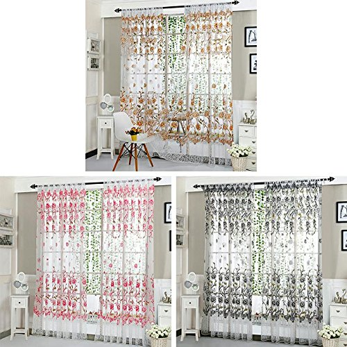 UHBGT 1x2m Tulle Flower Printing Peony Screens Solid Color Curtain for Office Kitchen Living Room Bedroom Window Curtains Pink ()