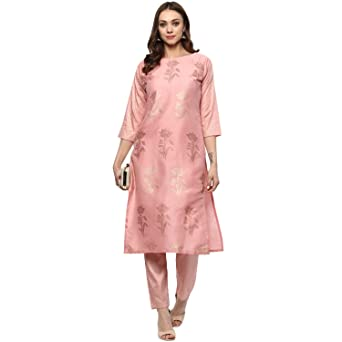 Ziyaa women's Pink Colour Straight polysilk Gold Foil Print Kurta (ZIKUPS2068) Kurtas & Kurtis at amazon