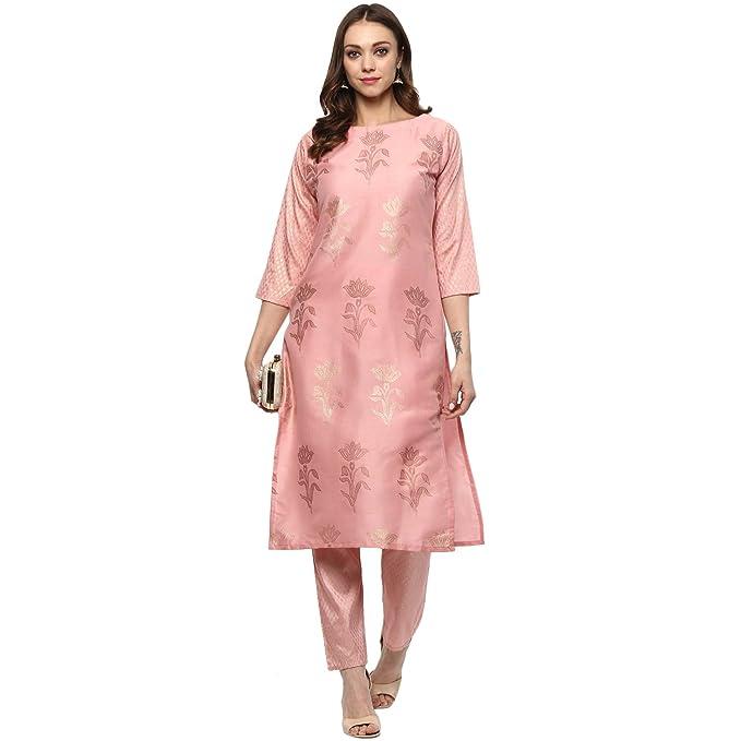 Ziyaa women s Pink Colour Straight polysilk Gold Foil Print Kurta ... 3b5f80965